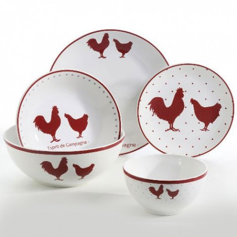 Service de table motif poule for Deco de cuisine poule